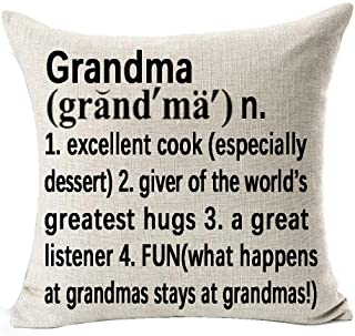 Best Grandma Gifts Warm Sweet Sayings Grandma Giver Of The World's Greatest Hugs Explanation Words Letters Cotton Linen Throw Pillow Case Cushion Cover NEW Home Decorative Square 18 X 18 Inches