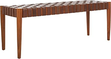 Safavieh Home Amalia 47-inch Cognac and Dark Brown Leather Weave Bench