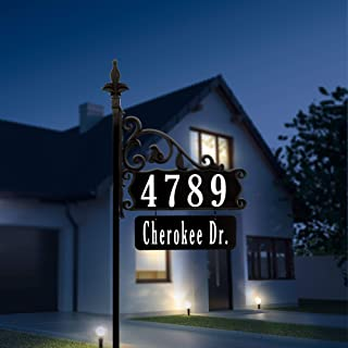 """Address America Boardwalk Personalized Custom Double-Sided Reflective Home Address Sign for Yard with Name Rider Plaque for 911 Number Visibility - 47"""" Post"""