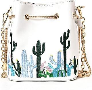 e03886594acf LABANCA Womens Mini Bucket Purse Floral Shoulder Bag with Drawstring Chain Cross  Body Bag