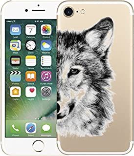 AIsoar iPhone 7 Case,iPhone 8 Case, Clear Soft Silicone Skin Cover Slim Flexible TPU Watercolor Flowers Floral Printed Back Cover for apple iPhone 7/ iPhone 8 4.7 inch (Wolf)