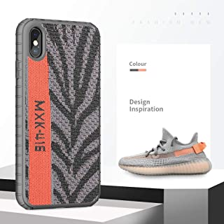 iPhone X Case, [Yeezy 350] Knitted Fabric Cover with Hard PC [SGS Certified] Anti-Slip and Shock Absorbing Protective Ultra Slim Phone Case for iPhone Xs 5.8 Inch(Zebra Orange)