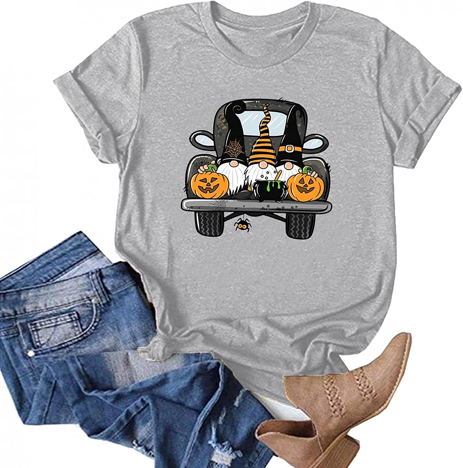AODONG Womens Tops for Halloween Gnomes Graphic T-Shirts Tee Tops Short Sleeves Pullover Blouse Halloween