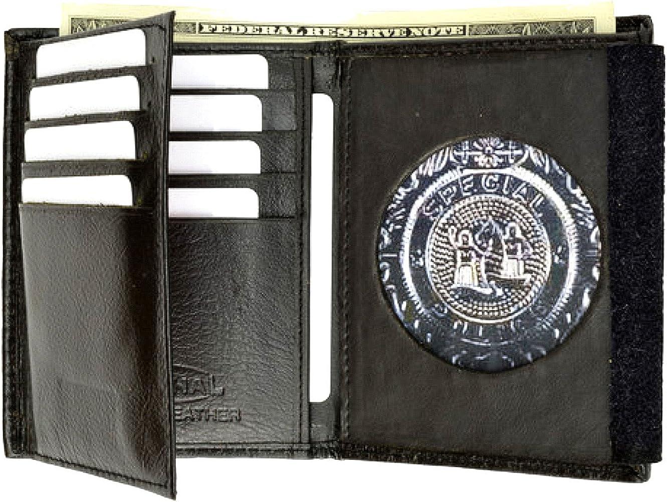 Police Badge Holder Genuine Leather Style - mw2515TABlack
