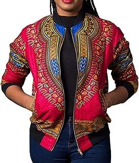 WEUIE Women Dashiki Long Sleeve Fashion African Print Dashiki Short Casual Jacket