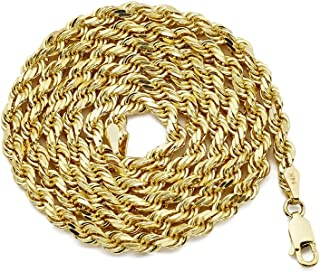 LoveBling 14K Yellow Gold 4mm Solid Diamond Cut Rope Chain Necklace with Lobster Lock (24)