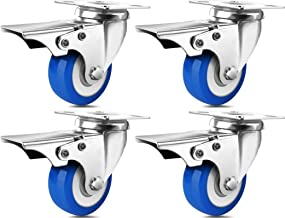 SPACECARE 2 Inches Caster Wheels, Heavy Duty Locking Casters with Brake Set of 4, 800Lbs with 360 Degree No Noise Swivel P...