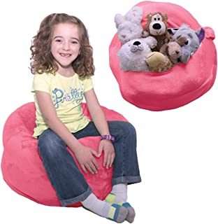 """Stuffed Animal Bean Bag Storage - """"Soft 'n Snuggly"""" Comfy Plush Fabric Kids Prefer Over Canvas - Replace Your Mesh Toy Hammock or Net - Store Blankets & Pillows Too"""