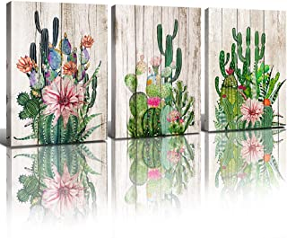 """Cactus Room Decor for Bathroom Bedroom Living Room Kitchen Office Succulent Wall Art Home Decorations Aesthetic Green Plants Flowers Posters Canvas Pictures Watercolor Painting 12"""" x 16"""" 3 Panels Set"""