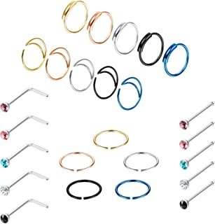 LOYALLOOK 25PCS Stainless Steel Nose Ring Hoop Women Men Moon Nose Ring Hoop Nose Hoop Piercing Septum Ring CZ Stud Nose Rings Body Jewelry Piercing