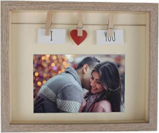 Giftmon Light Brown Decorative Horizontal Love Picture Frame With Mat Wood & Glass Pane, With Red Heart & Card & Clothes Line & Pin For Couple, Family, Friends Picture, Fun 4x6 Photo Box Frames