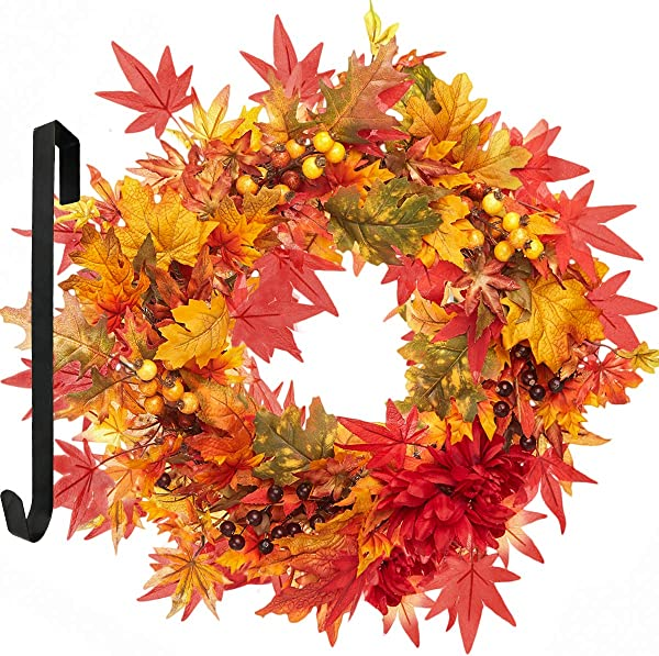 LIFEFAIR Fall Wreath For Front Door With Autumn Harvest Maple Leaf And Berries 22 Inches Fall Door Wreath Berry Wreath The Wreath Hanger Included