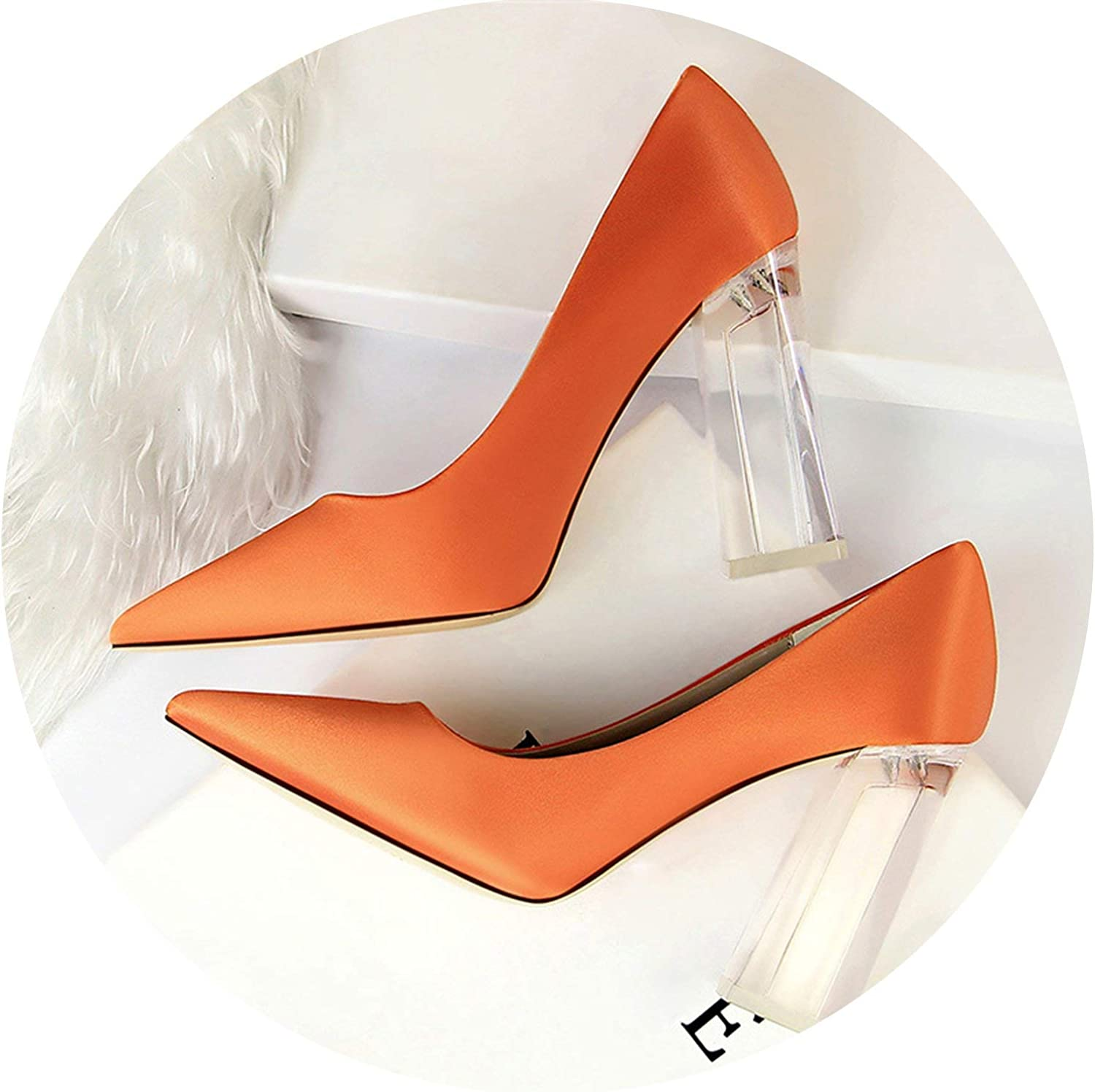 HANBINGPO New Pointed Toe Transparent Block High Heels Stain Yellow Pumps Escarpins Women Fall Spring Elegant Lady Office Party shoes,orange,8.5