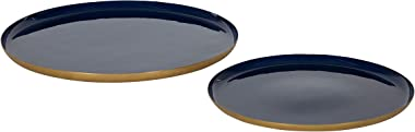 Kate and Laurel Neila Modern Tray Set, Set of 2, Navy Blue and Gold, Decorative Trays for Storage and Display