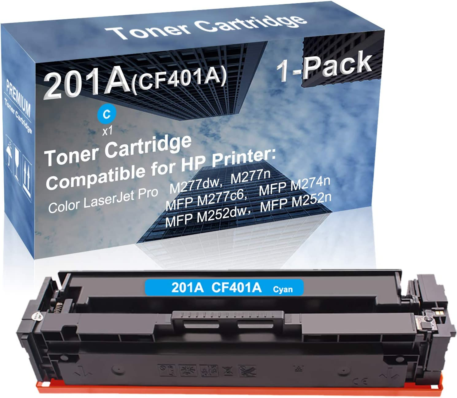 1-Pack (Cyan) Compatible High Yield 201A (CF401A) Laser Printer Toner Cartridge use for HP MFP M252dw, MFP M252n Printer