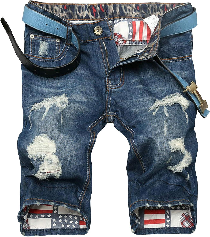 Katesid Mens Mid Rise Straight Leg Denim Shorts Ripped Holes Casual Summer Shorts Pants