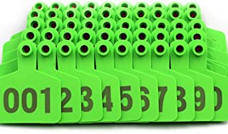 Livestocktool Pig Ear Tags Green Medium Plastic Livestock Ear Tags for Hog Swine Sow Ear Tags with Number 001-100 (cattle, green)