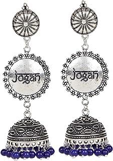 Sansar India Oxidized Jogan Inscription Jhumka Jhumki Earrings for Girls and Women