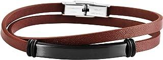 Brillibrum ID wrap armband äkta läder rostfritt stål gravering platta silver guld läderarmband partner smycken vänskapsarm...