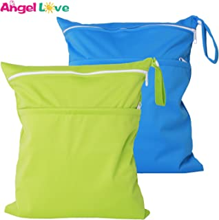 Wet Bags, Angel Love 2 Pack Baby Cloth Diaper Wet/Dry Bags with Two Zippered Pockets, Travel, Beach, Pool, Gym Bag for Swimsuits or Wet Clothes, Waterproof Washable Reusable, L0109