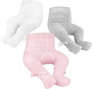 OioTuyi Mallas tejidas para bebé Leggings de algodón sin costuras Paquete de 3 pantimedias para niñas Bebés recién nacidos...