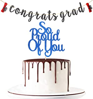 Maicaiffe Black Glitter Congrats Grad Banner with Blue So Proud of You Cake Topper - Congratulations Banner - 2021 Graduat...