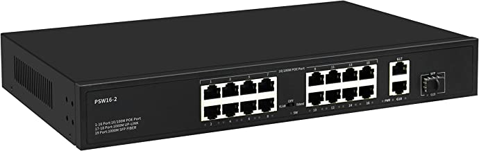 16 Port Plug and Play PoE+ Switch with 2 Gigabit Uplink Ports, Up to 30W Per Port, Total Budget 250W, 803.af/at Compliant, Extend Mode 600ft