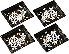 Cinf Japanese Cherry Blossom 4 inch Salad Dish Plates Set of 4 White Ceramic Rectangular 43216-187152