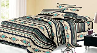 Rustic Western Southwest Native American Design 3 Piece Comforter Set Navajo Print Multicolor Ivory Turquoise Blue black and Grey 17426 Twin Brown Comforter Set