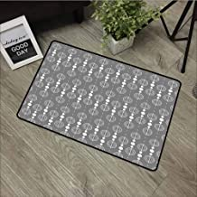 LOVEEO Bedroom Doormat,Grey Various Sized Geometric Circles Rounds Chained Spirals Retro Style in Mod Graphic Art Home,Customize Door mats for Home Mat,24