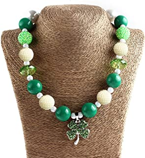 Clover Necklace Shamrocks Vintage Beads Necklace for Costume Accessory Jewelry Decoration St.Patricks Day Necklace