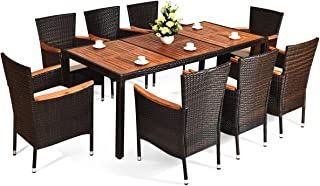 HAPPYGRILL 9-PCS Outdoor Patio Dining Set, Rattan Wicker Dining Set with Cushion, Acacia Wood Table Top & Armrest, Poly Rattan Dining Table Chairs Set Stackable Chairs, Garden Dining Set