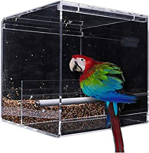 SETCO Automatic Bird Feeder No Mess Bird Cage Pet Feeder Seed Food Container for Parakeet Canary Cockatiel Parrot Finch Canary Acrylic