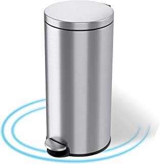 iTouchless, 30 Liter Pedal Garbage Bin for Kitchen, Bathroom, Office, Quiet Lid Close SoftStep Step Trash Can with AbsorbX...