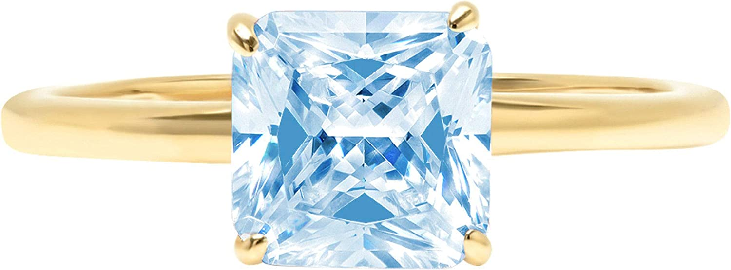 2.4ct Brilliant Asscher Cut Solitaire Natural Sky Blue Topaz Ideal VVS1 4-Prong Engagement Wedding Bridal Promise Anniversary Ring Solid 14k Yellow Gold for Women