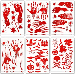 Coogam 150PCS Halloween Bloody Decal Decoration, Removable Horror Bathroom Sticker Window Cling, Bloody Handprint Footprin...