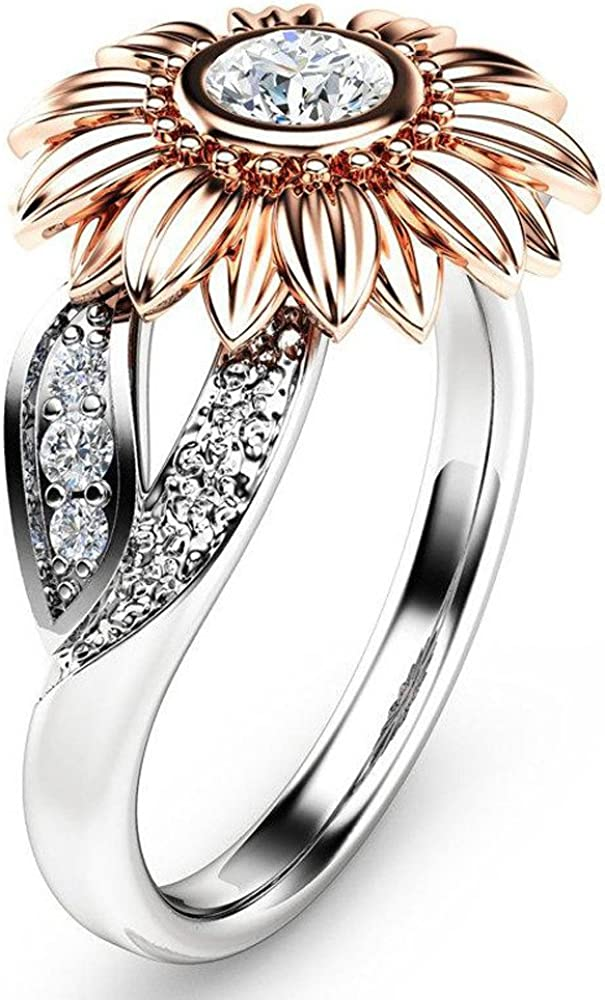 Rings for Women Ranking TOP7 outlet Exquisite Women's Two Ro Floral Tone Ring Silver