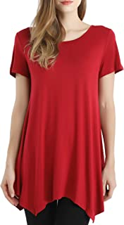 Womens Swing Tops Tunic for Leggings Short Sleeve Loose Fit Ladies Basic Solid Flowy T-Shirt