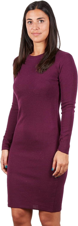 BRUNELLA GORI Langes Kleid für Frauen mit Enger Weste - Neck C in 100% rotem Super Merino Farbe lila