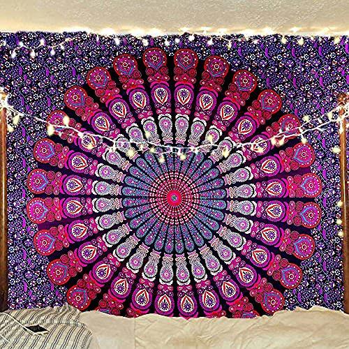 Décoration murale à suspendre ou jeté de lit de style indien, hippie, Bohème, avec mandala plume de paon, Tissu, violet/rose, Twin(54x72Inches)(140x185cms)