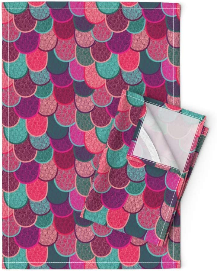 We OFFer at cheap prices Roostery Ranking TOP2 Mermaid Scales Tea Towels Fish Colorful Tails Large