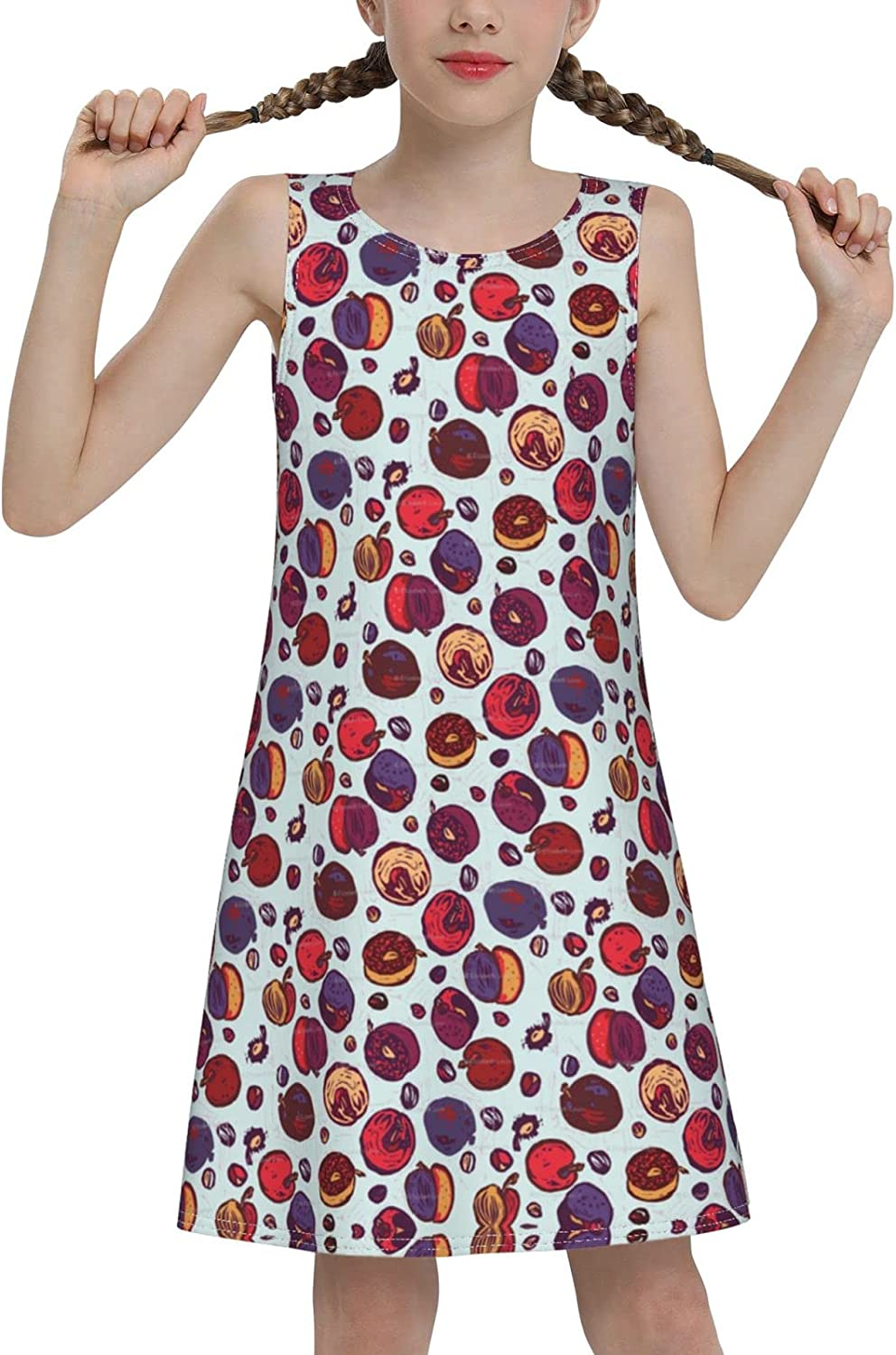 YhrYUGFgf Nuts Sleeveless Dress for Girls Casual Printed Vest Skirt