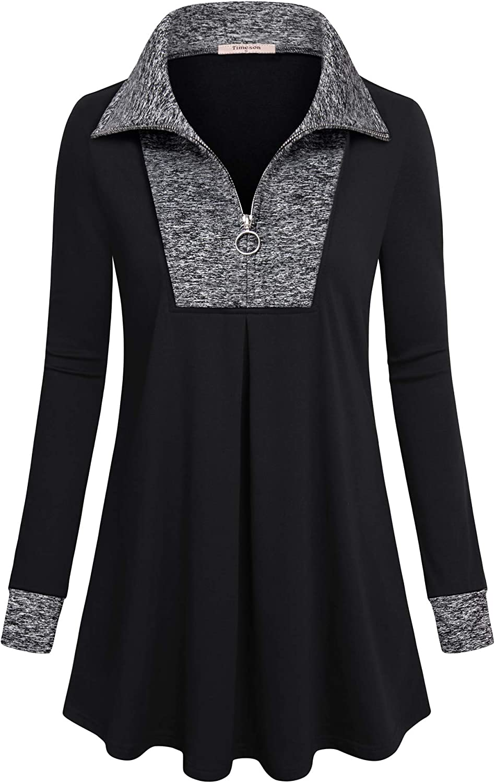 Timeson Women's Long Sleeve Quarter-Zip Plaid Time Max 53% OFF sale Pu Lapel Tunic Top