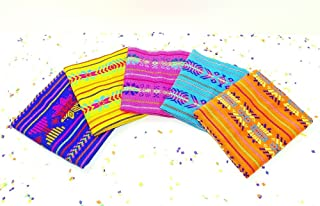 Cinco de Mayo Fabric, Mexican Fabric Bundle, Mexican Fabric by The Yard, Aztec Fabric, Pink, Purple, Green, Yellow Tribal Fabric from Mexico