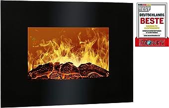 Bomann EK6020 Chimenea eléctrica decorativa de pared, efecto llama ardiendo regulable, programable, mando distancia 900W/1800W, 66 x 52 x 9,5 cm