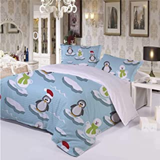 Kids Durable 3 Piece Bedding Set,Cute Penguins and Snowmans on Ice Floes Antarctica Cartoon Caps Scarfs Funny Pattern for Indoor,Twin
