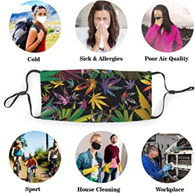ETHAICO Fillter Cloth for Adult,Trippy Multi Marijuana Leaf Weed ,Reusable Windproof Cloth Half Face Double Protection