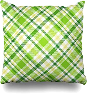 ArtsDecor Throw Pillow Covers Cases Pattern Green Border Plaid Check Palette Pine Color Abstract Yellow Bright Checker Checkerboard Home Decor Cushion Square Size 18