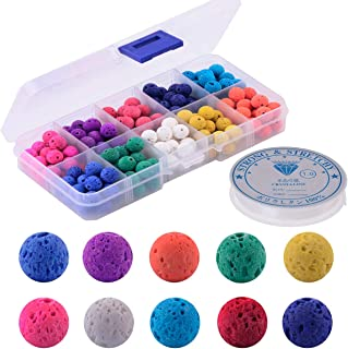 Color Lava Stone Beads Box Kit 200pcs 8mm Round Loose Chakra Rock Beads with Elastic Crystal String for Essential Oil Yoga Diffuser Bracelet Necklace Jewelry Making (Color Lava Stone Beads Kit)