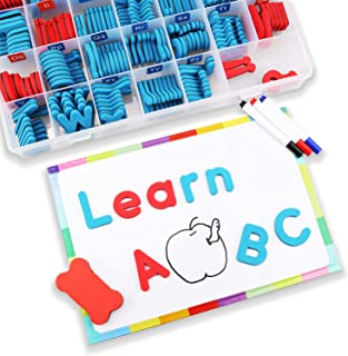 BabyNoah Magnetic Alphabet Letters Kit with Double Side Magnetic Board - ABC Uppercase and Lowercase Magnet for Kids Spelling - Classroom & Home School Learning Tool (208 Letters with 3 Markers)